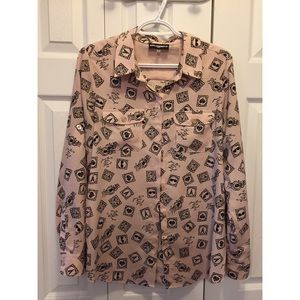 Karl Lagerfeld Love From Paris Button Up Blouse